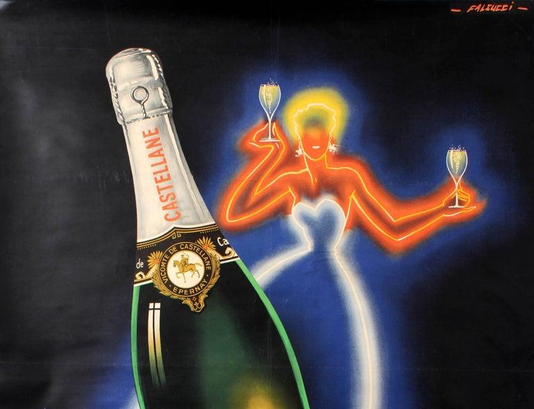 Original Vintage Champagne De Castellane Poster By Falcucci Neon Design Drink Ad - Print by Robert Falcucci