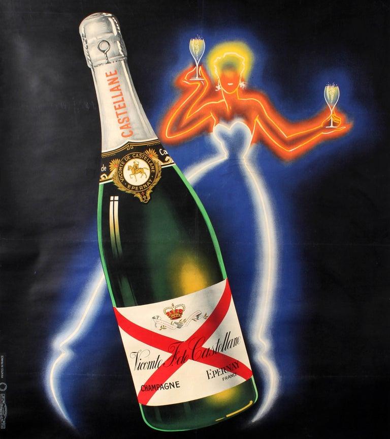Original Vintage Champagne De Castellane Poster By Falcucci Neon Design Drink Ad - Black Print by Robert Falcucci
