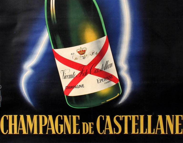 Original vintage drink advertising poster for Champagne de Castellane featuring a stylish design by Robert Falcucci (1900-1989) showing an elegant lady in neon colours holding up two glasses of Castellane champagne against the dark background with a