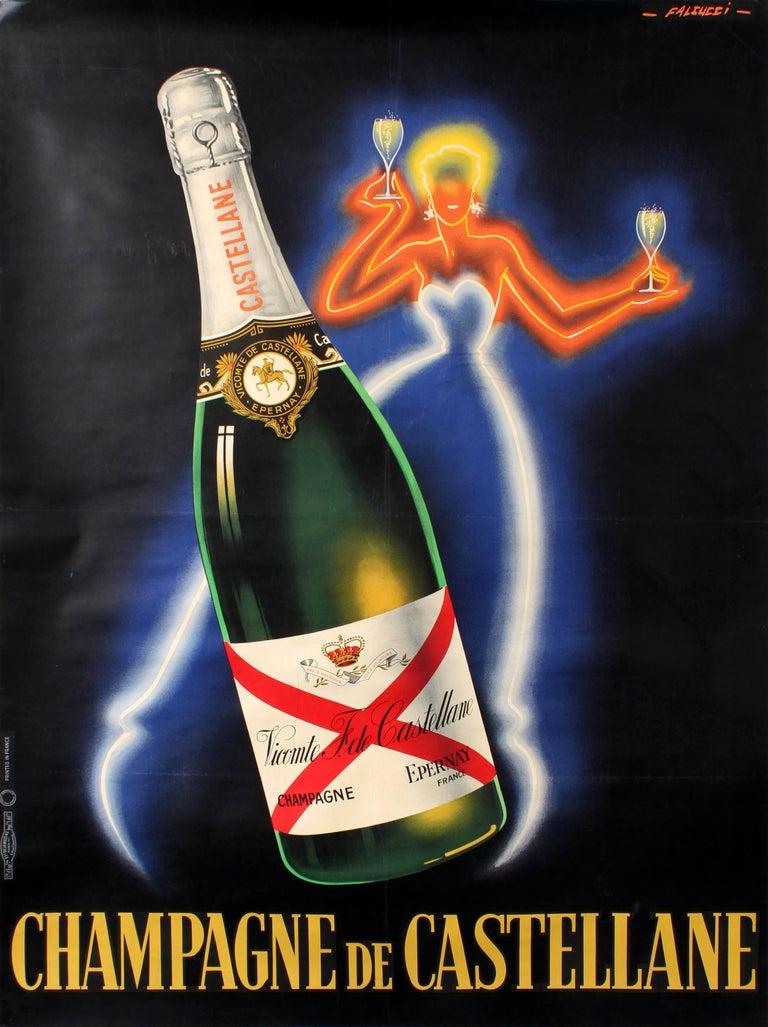 Robert Falcucci Print - Original Vintage Champagne De Castellane Poster By Falcucci Neon Design Drink Ad