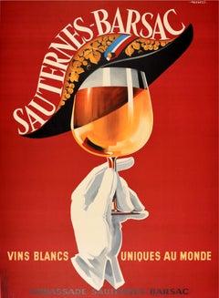 Original Vintage Poster Sauternes Barsac Vins Blancs Uniques Au Monde Wine Drink