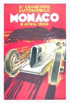 "Robert Falcucci-Monaco Grand Prix 1930-38.5"" x 26.75""-Lithograph-1985-Vintage"