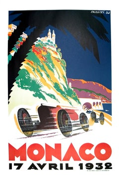 "Robert Falcucci-Monaco Grand Prix 1932 -39.5"" x 26.75""-Lithograph-1983-Vintage"
