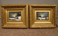 """Oil painting Pair by Robert Finlay McIntyre """"Rabbits in a winter landscape"""""""