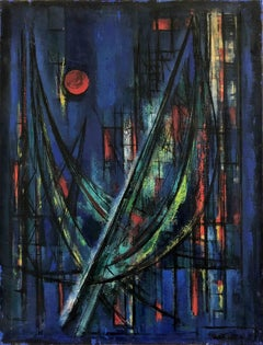 Abstract Moon over City