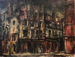 """Hotel Paris"" Mid Century Abstract Expressionist Oil Painting on Canvas"