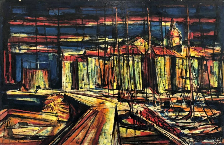 An abstract Mid Century docks scene with a vivid use of paint and complex lines and color placement. A strong modernist oil painting depicted in 1958 with sailboats on a dock along the town of St. Tropez. Freiman, known for his figures on canvas or