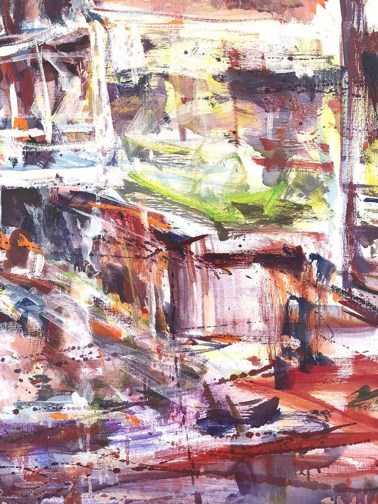 Large Abstract Harbor Scene For Sale 5