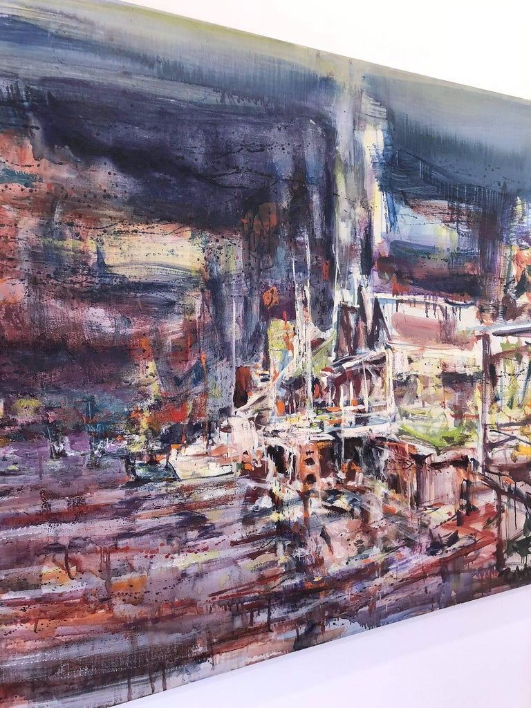 Large Abstract Harbor Scene For Sale 9