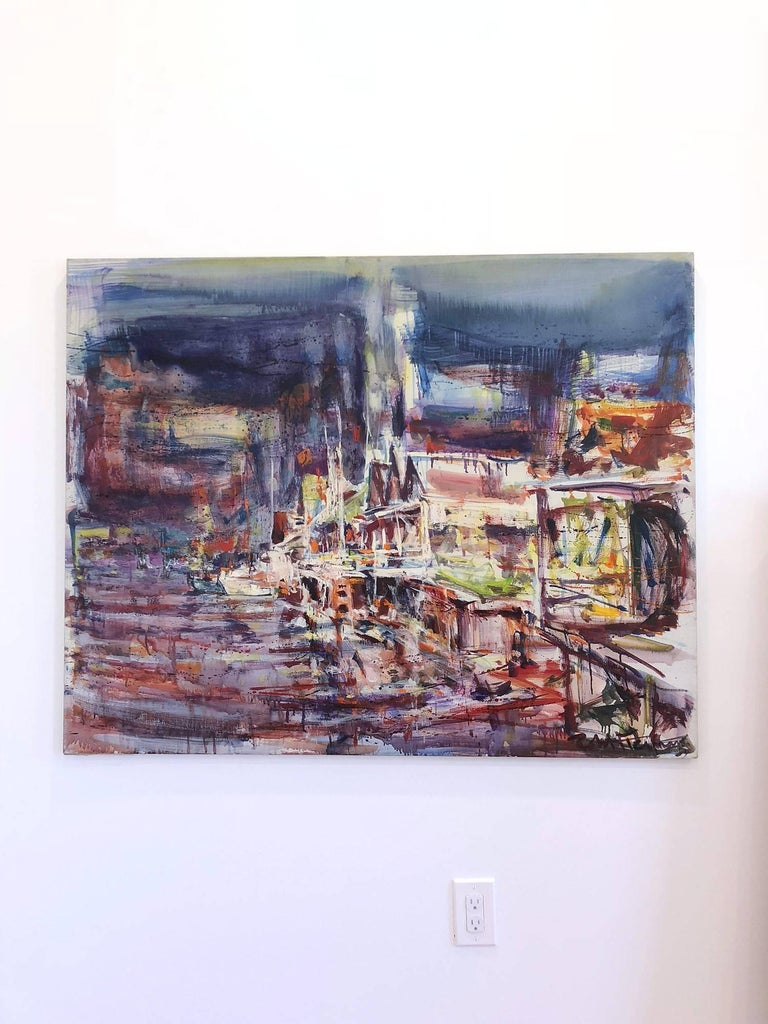 Large Abstract Harbor Scene For Sale 11