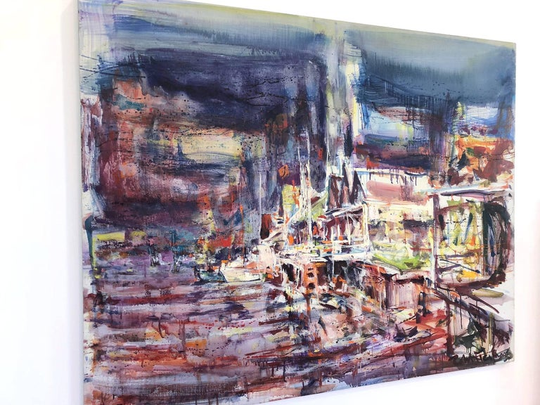 Large Abstract Harbor Scene For Sale 12