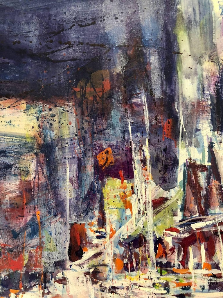 Large Abstract Harbor Scene For Sale 13