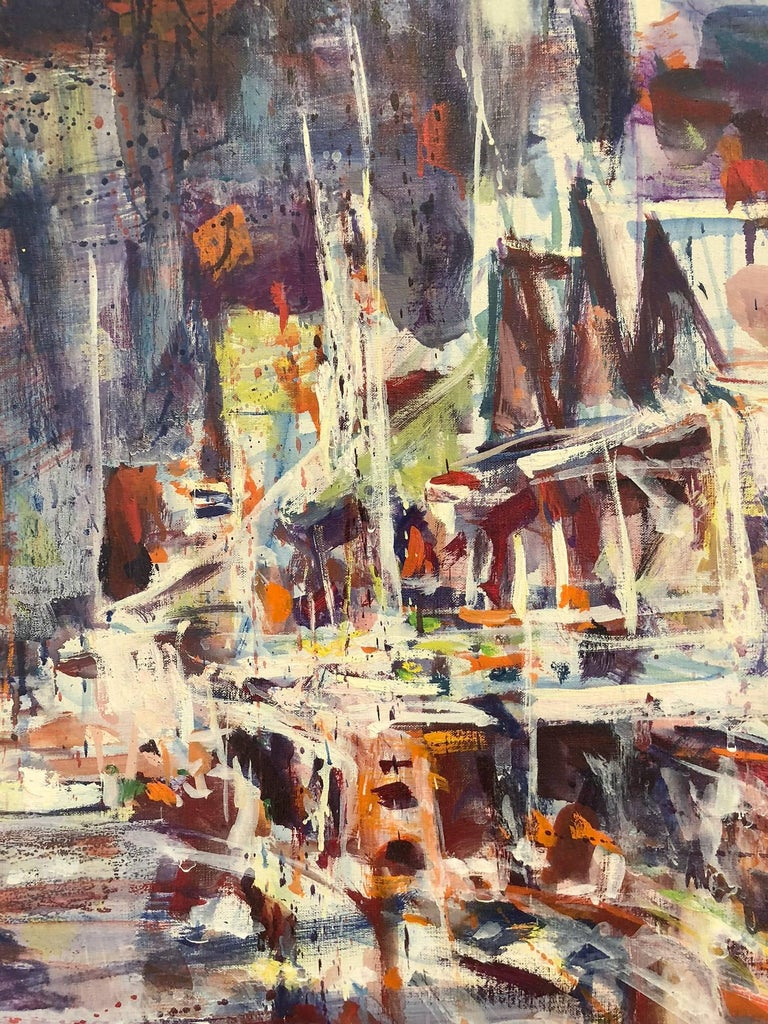 Large Abstract Harbor Scene - Painting by Robert Freiman