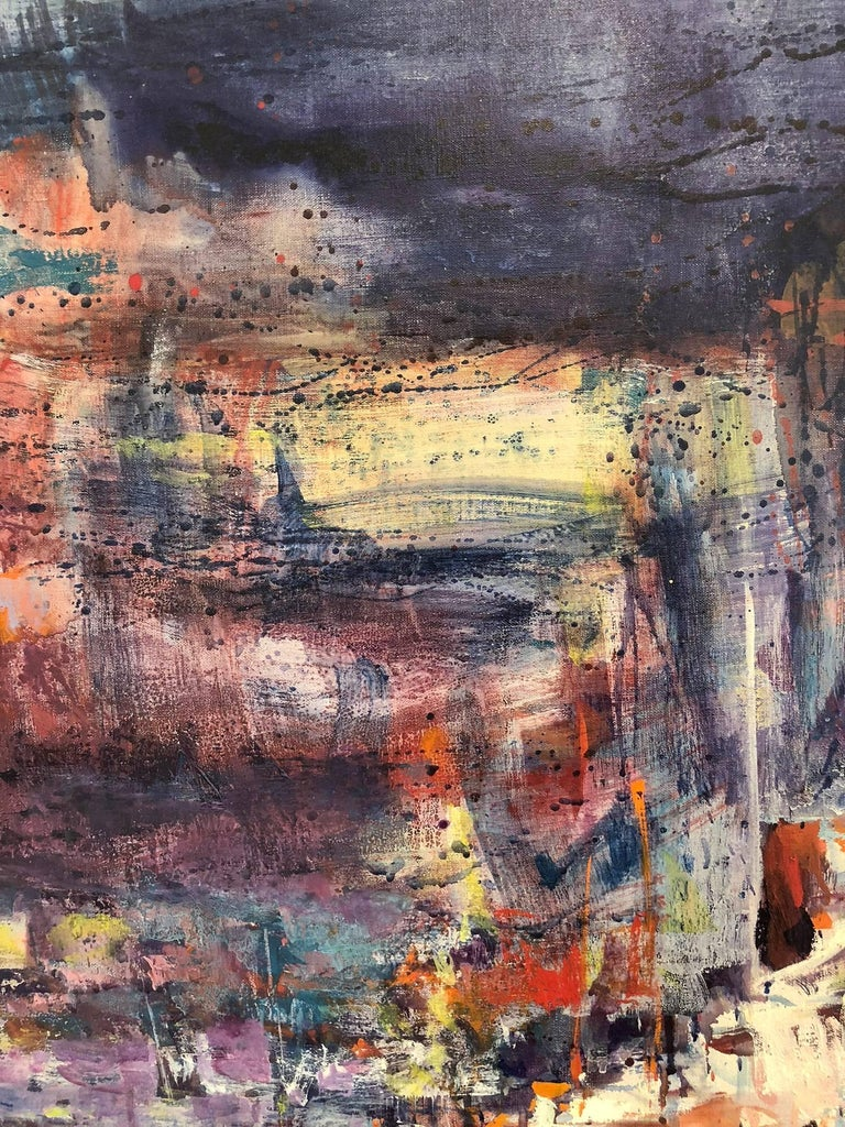 Large Abstract Harbor Scene - Abstract Impressionist Painting by Robert Freiman
