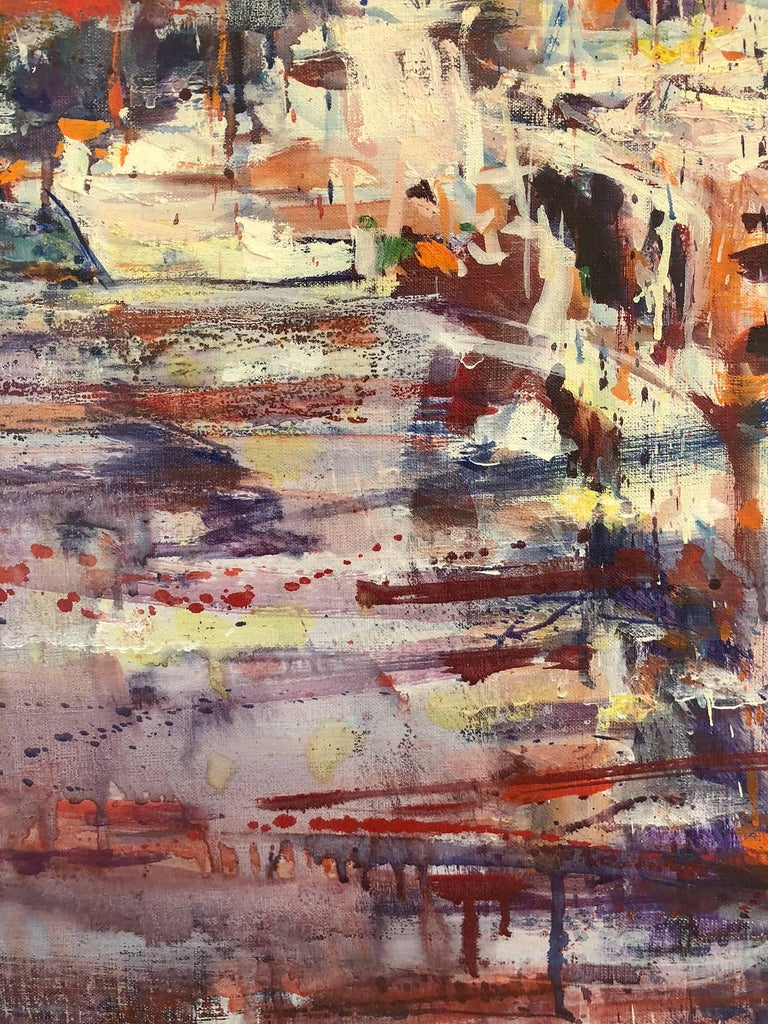 Large Abstract Harbor Scene - Gray Landscape Painting by Robert Freiman
