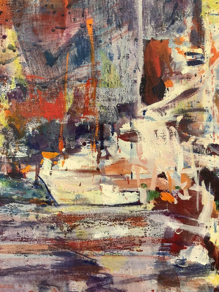 An abstract Avante Garde piece with vivid use of paint and complex lines and color placement. A strong modernist oil painting depicted in 1969 during the rise of Avante Garde expressionist painters. Freiman, known for his figures on canvas or street