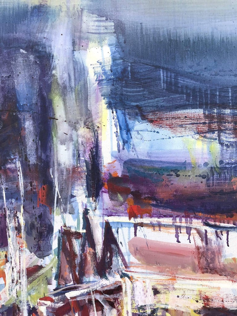 Large Abstract Harbor Scene For Sale 2