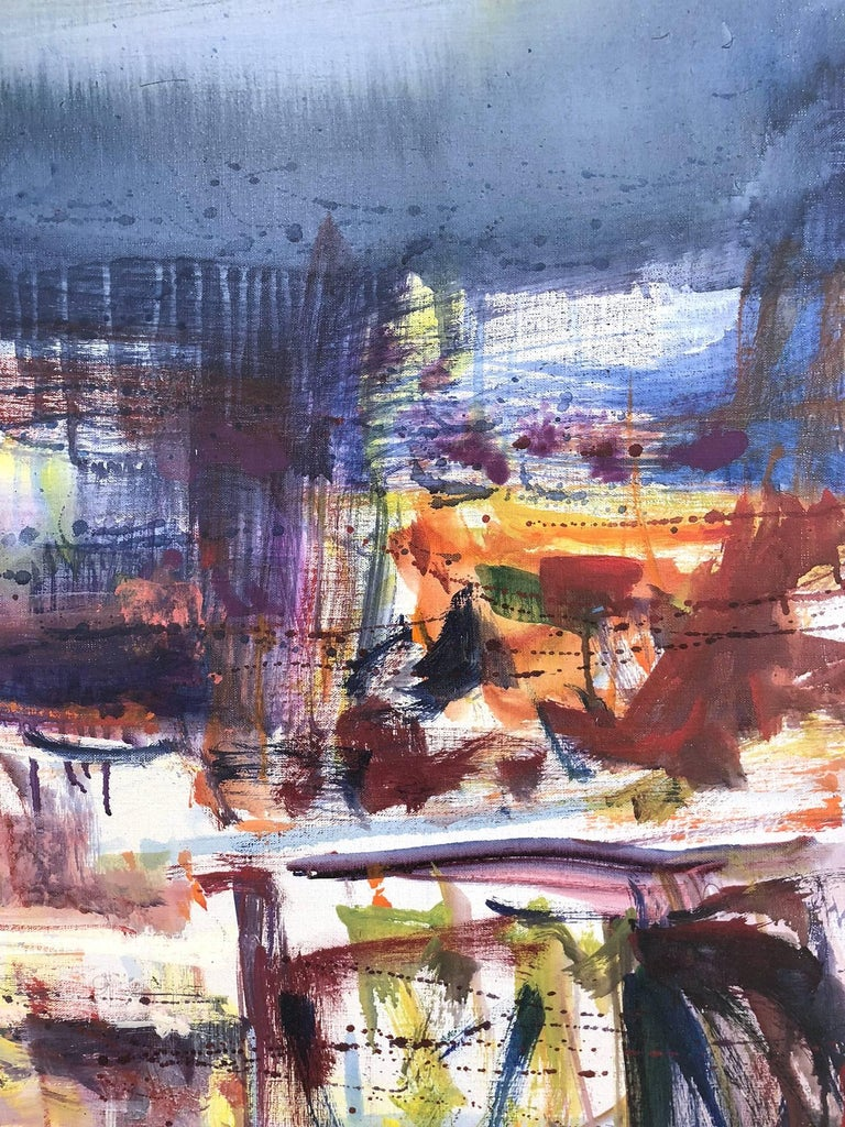 Large Abstract Harbor Scene For Sale 3