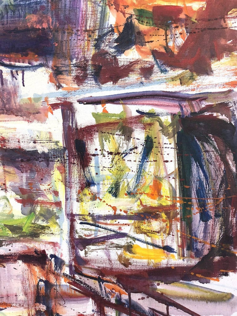 Large Abstract Harbor Scene For Sale 4