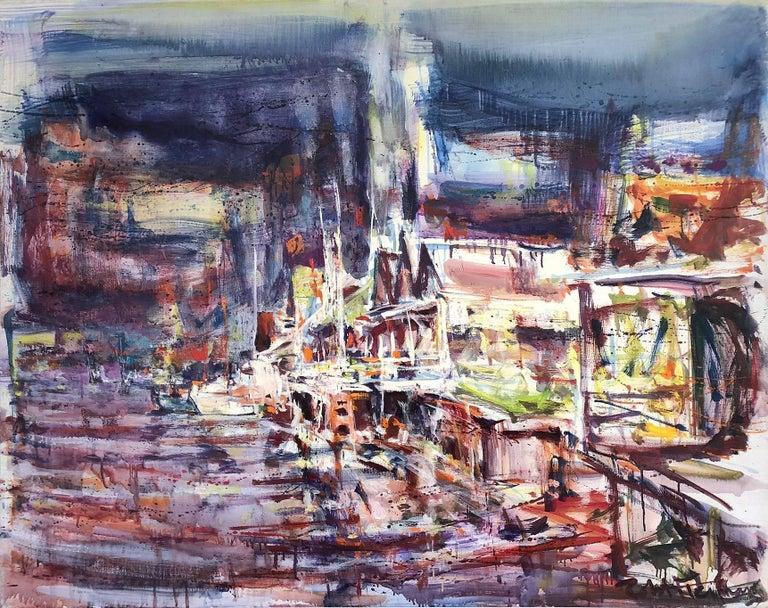 Robert Freiman Landscape Painting - Large Abstract Harbor Scene