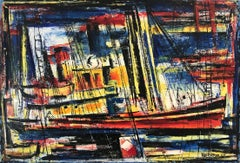"""""""The Freighter"""" Colorful Oil Painting on Canvas of an Abstract Marina with Boats"""