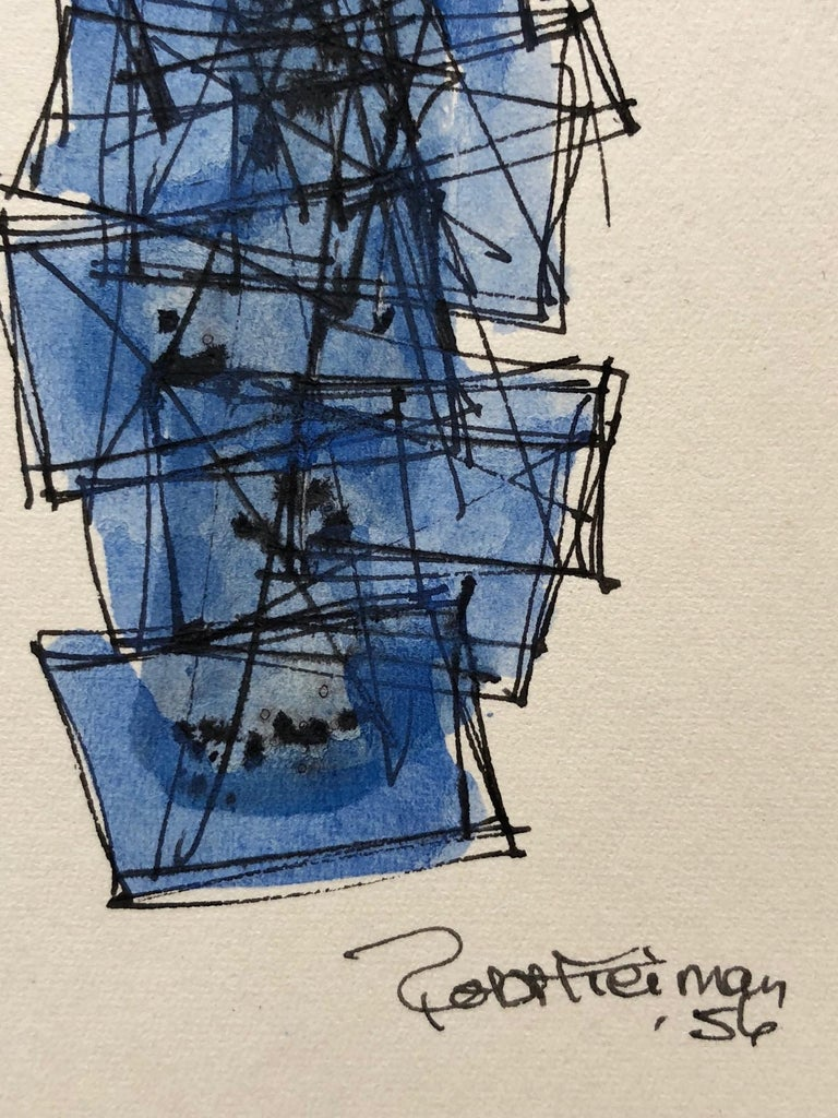 Mid-Century Modern Robert Freiman Watercolor and Ink on Paper, 1956 For Sale