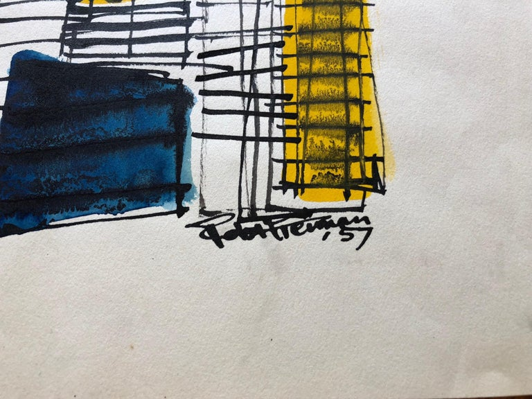 Mid-Century Modern Robert Freiman Watercolor and Ink on Paper, 1957 For Sale