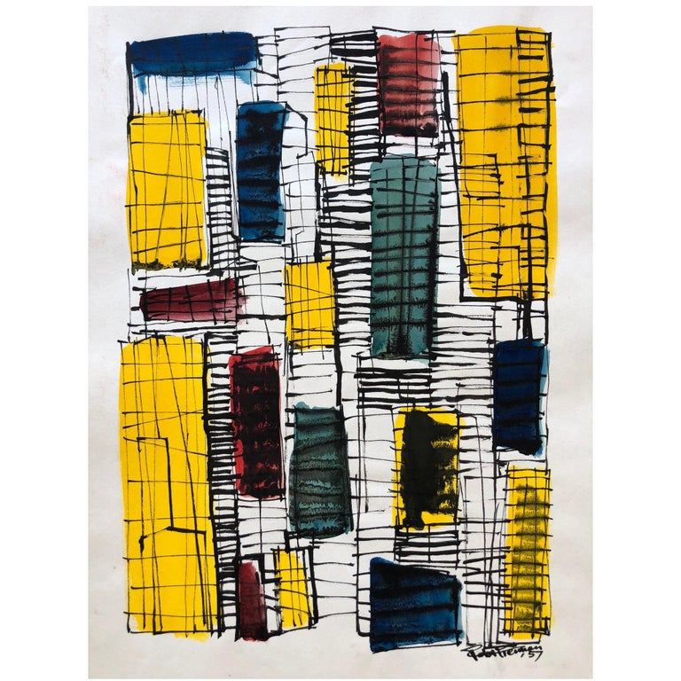 Robert Freiman Watercolor and Ink on Paper, 1957 For Sale