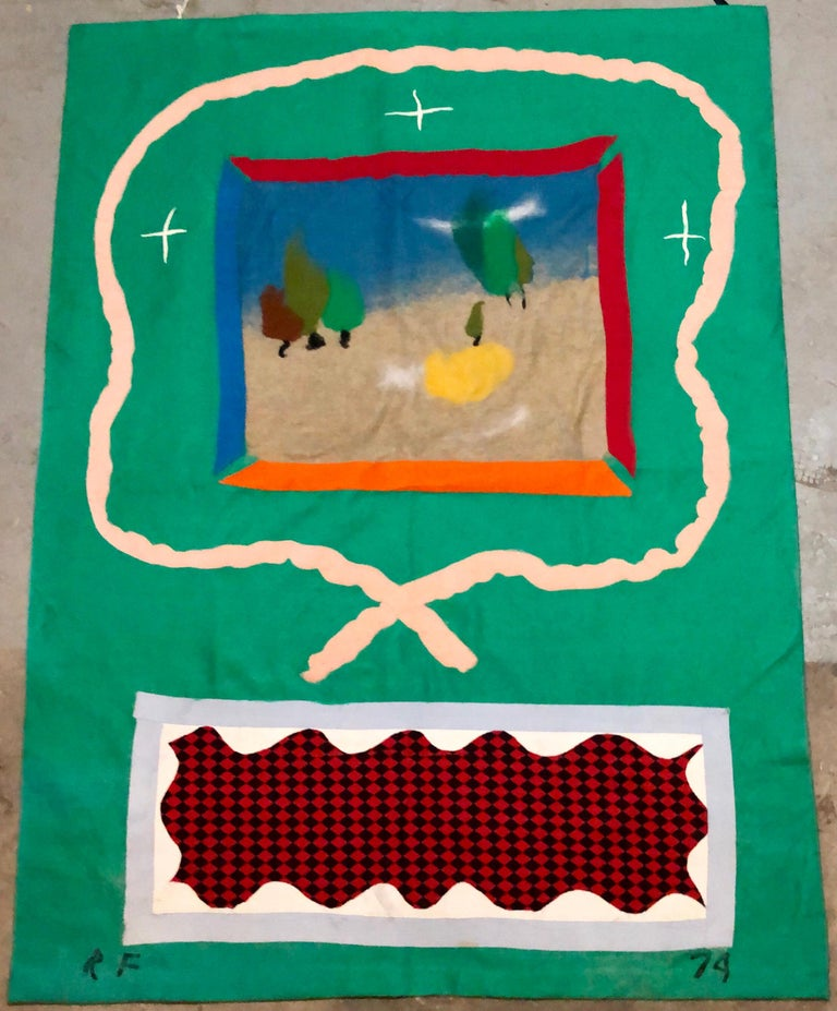 70's Large Colorful Abstract Expressionist Art Protis Tapestry Wool Wall Hanging For Sale 2