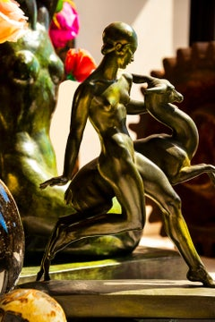 Art Deco Nude Girl and Fawn Statue Photograph
