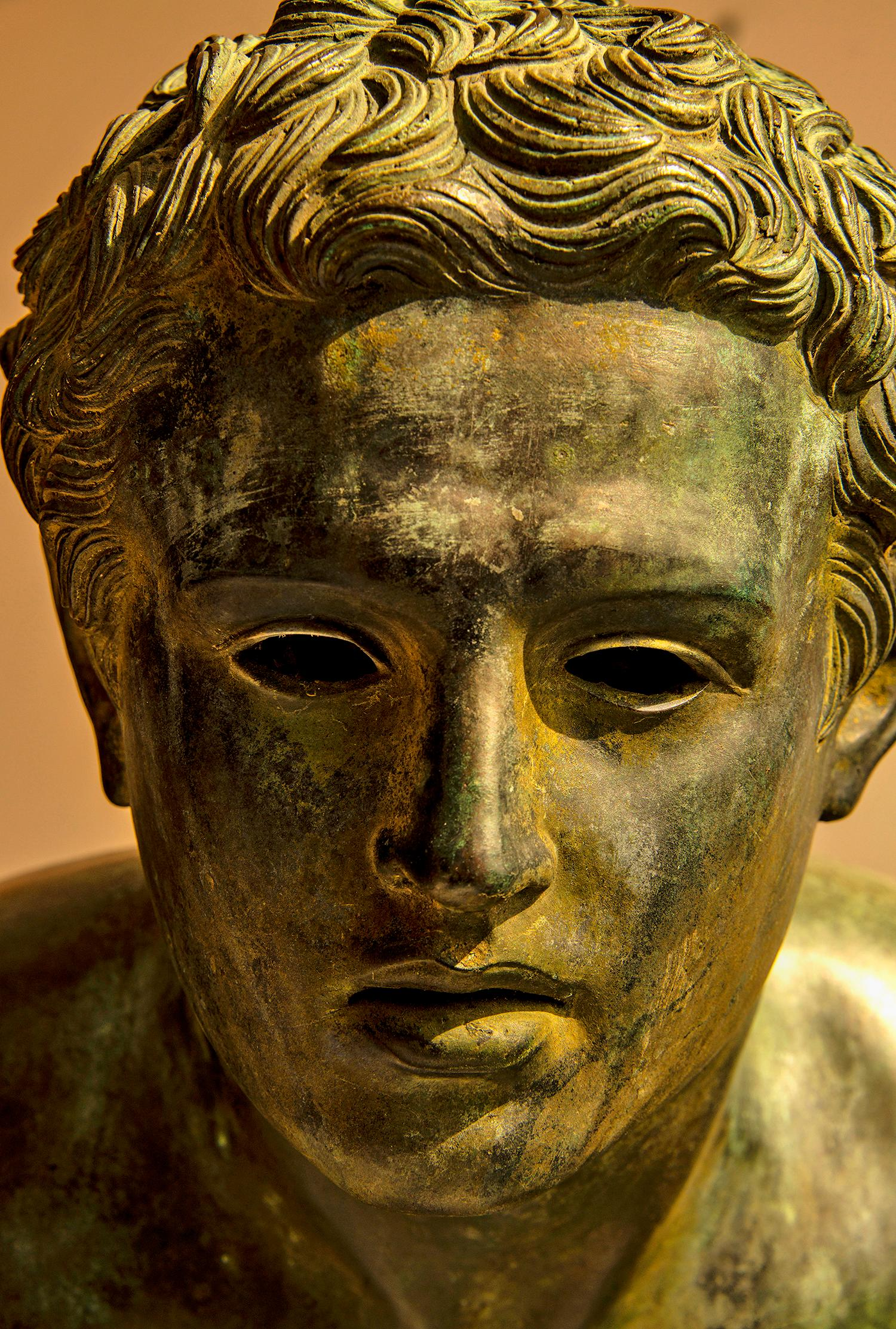 Golden Classical Bronze Head in thought