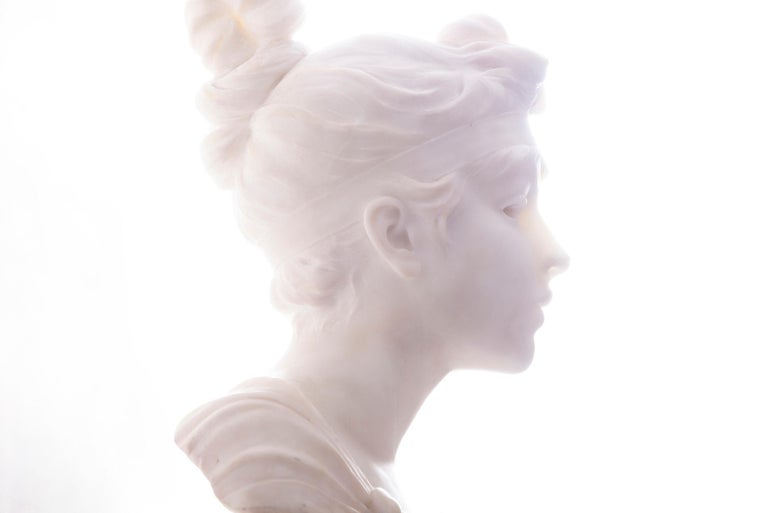 Robert Funk Figurative Photograph - Classical White Marble Statue Phyrne in Silhouette Study in White and Yellow