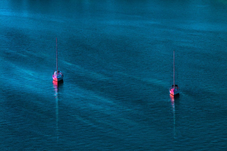 Robert Funk Abstract Photograph - Pink Sailboats on a Blue Green Sea