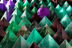 Pyramids with Terracotta Magenta  Art Deco Head