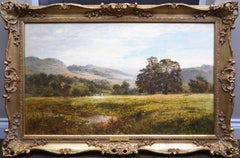 A Quiet Nook on the Swale - Large 19th Century Victorian Exhibition Oil Painting