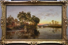 On the Thames nr Shillingford - Large 19th Century Sunset Landscape Oil Painting
