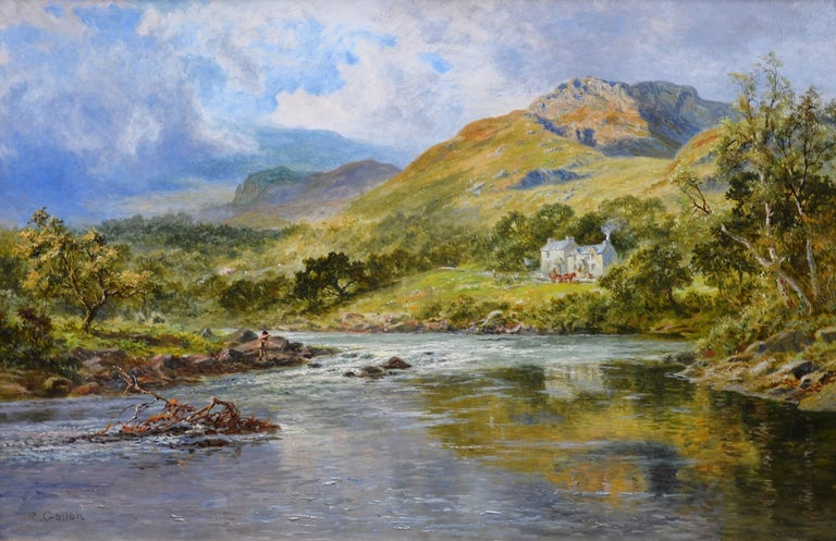 This is a large fine 19th century oil on canvas depicting an angler fishing on the River Lledr in North Wales with famous Fish Inn on the hillside beyond by the eminent Victorian artist Robert Gallon (1845-1925). 'The Fish Inn, the Lledr Valley' is