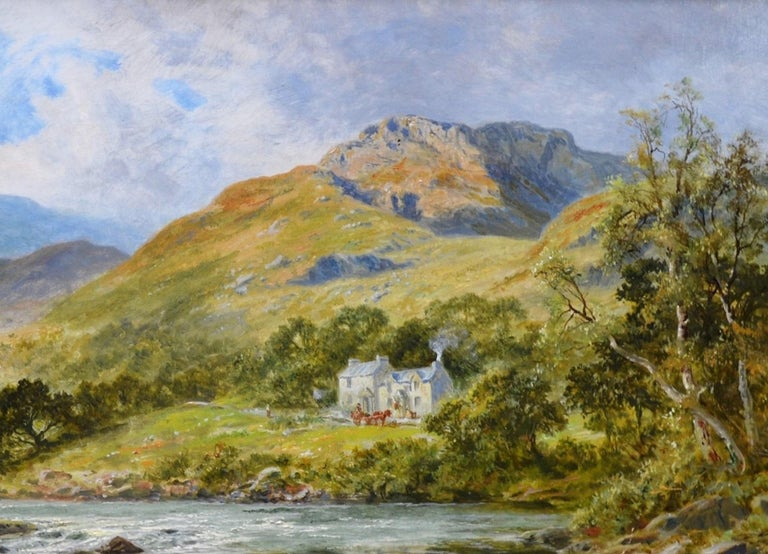 The Fish Inn, Lledr Valley - 19th Century Landscape Oil Painting River Fishing For Sale 2