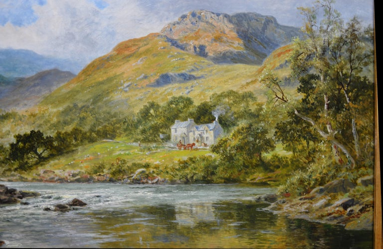The Fish Inn, Lledr Valley - 19th Century Landscape Oil Painting River Fishing For Sale 4