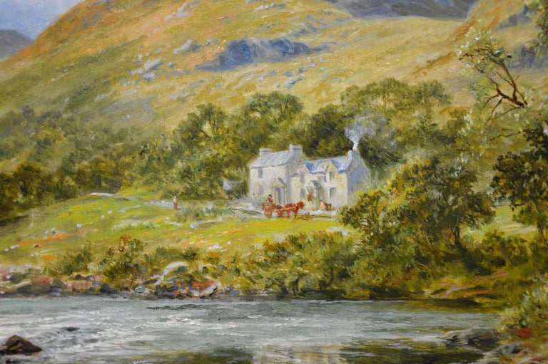 The Fish Inn, Lledr Valley - 19th Century Landscape Oil Painting River Fishing For Sale 6