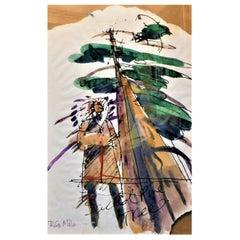 "Robert Gary Miller Native American Signed Watercolor ""Sacred Pine Tree"", Canada"