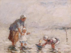 Impressionist Figurative painting 'Summer by the Sea' R. G. Hutchison R.S.A