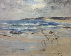 Shores of Machrihanish - Children on the Beach - Oil on Canvas