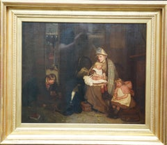 The Soldier's Farewell - Scottish Victorian art Interior portrait oil painting