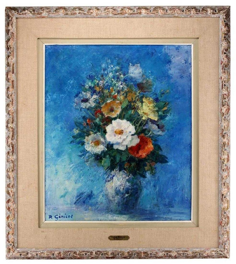 """""""Fleur Bleue"""" - Post-Impressionist Painting by Robert Genicot"""