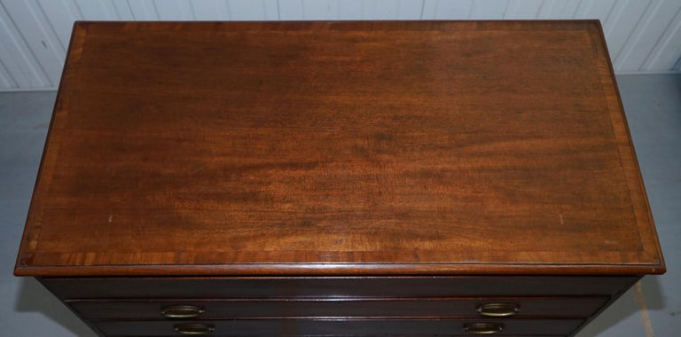 Hand-Crafted Robert Gillows II 1790 Writing Library Mahogany Chest of Drawers Leather Slope For Sale