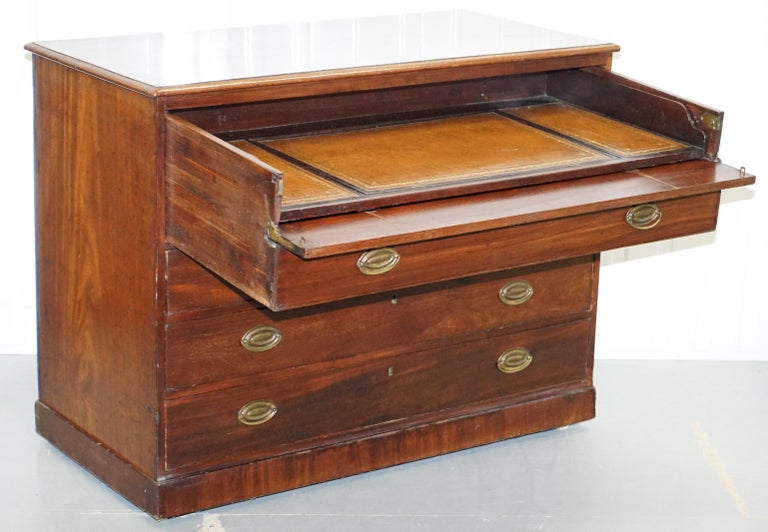 Robert Gillows II 1790 Writing Library Mahogany Chest of Drawers Leather Slope For Sale 2