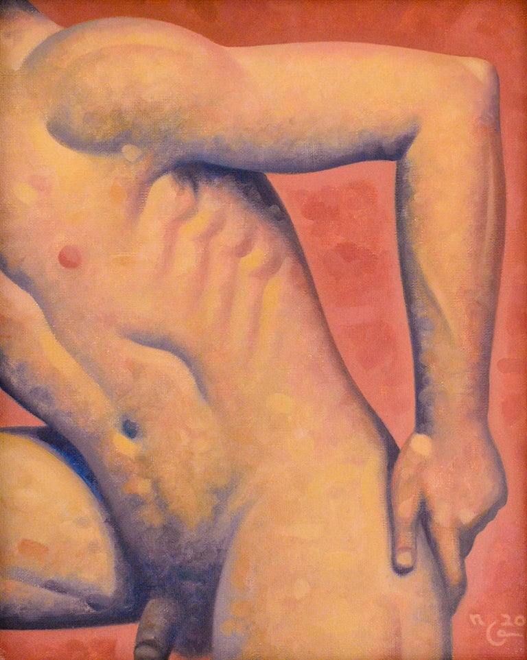 Anatomy No. 45 (Figurative Painting of Male Nude on Blood Orange) - Black Nude Painting by Robert Goldstrom