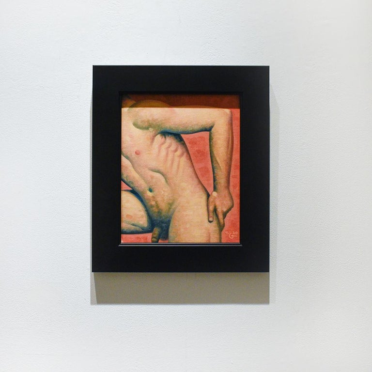 Figurative painting of male nude torso on a blood orange background