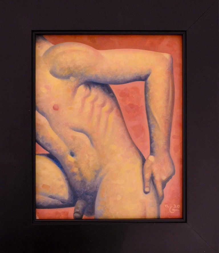 Robert Goldstrom Nude Painting - Anatomy No. 45 (Figurative Painting of Male Nude on Blood Orange)